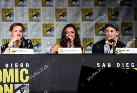 """Arthur Darvill, from left, Maisie Richardson-Sellers, and Nick Zano attend the """"Legends of Tomorrow"""" panel on day 3 of Comic-Con International, in San Diego"""