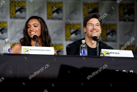 """Maisie Richardson-Sellers, left, and Nick Zano attend the """"Legends of Tomorrow"""" panel on day 3 of Comic-Con International, in San Diego"""