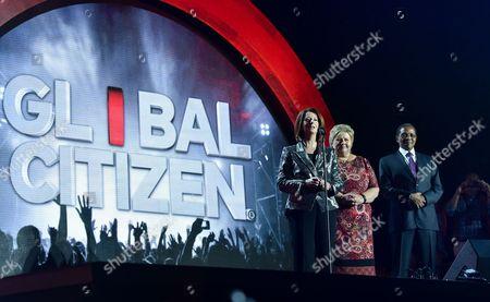 Former Prime Minister of Australia Julia Gillard, left, Prime Minister of Norway Erna Solberg and Former Tanzania President Jakaya Kikwete speak at the 2016 Global Citizen Festival in Central Park, in New York