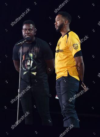 Kweku Mandela, left, and Ndaba Mandela performs at the 2016 Global Citizen Festival in Central Park, in New York