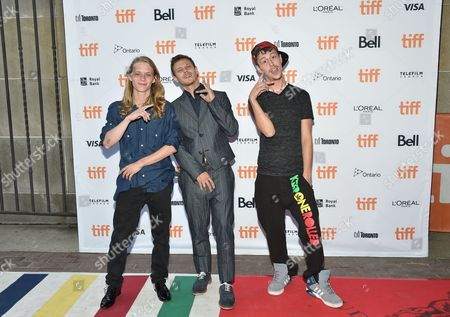 """Isaiah Stone, left, McCaul Lombardi and Raymond Coalson attend the """"American Honey"""" premiere on day 4 of the Toronto International Film Festival at Ryerson Theatre, in Toronto"""
