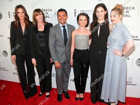 "Katie Holmes, from left, Jane Rosenthal, Mark Consuelos, Stefania Owen, Eve Lindley and Judy Greer attend the world premiere screening of ""All We Had"", during the 2016 Tribeca Film Festival, at John Zuccatti Theater at BMCC Tribeca Performing Arts Center, in New York"