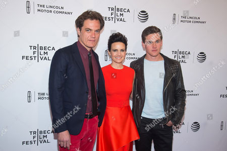 """Michael Shannon, from left, Carla Gugino and Taylor John Smith attend the world premiere screening of """"Wolves"""" during the 2016 Tribeca Film Festival at the SVA Theatre, in New York"""