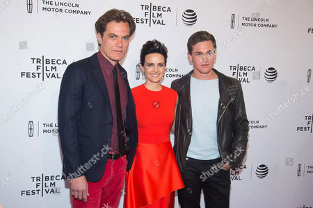 """Michael Shannon, left, Carla Gugino and Taylor John Smith attend the world premiere screening of """"Wolves"""" during the 2016 Tribeca Film Festival at the SVA Theatre, in New York"""