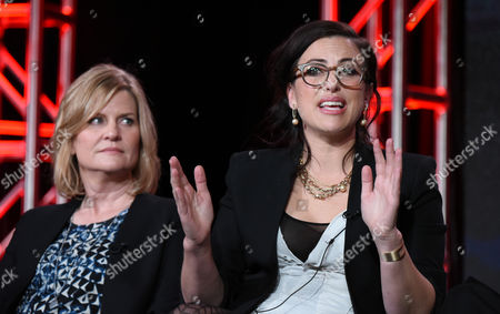 Executive producer Carol Barbee, left, and co-creator /executive producer Sarah Gertrude Shapiro speaks during the 'UnREAL' panel at the Lifetime 2016 Winter TCA, in Pasadena, Calif