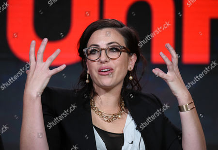 Co-creator /executive producer Sarah Gertrude Shapiro speaks during the 'UnREAL' panel at the Lifetime 2016 Winter TCA, in Pasadena, Calif