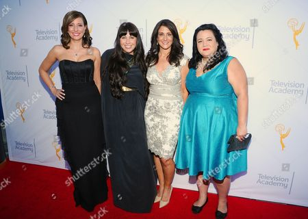 Stock Photo of Brenda Brkusic, from left, Kate Mazzuca, Donna Pennestri and Jenelle Riley arrive at the 67th Los Angeles Area Emmy Awards at the Skirball Cultural Center on