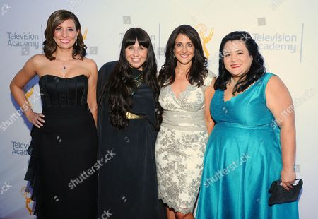 Stock Image of Brenda Brkusic, from left, Kate Mazzuca, Donna Pennestri and Jenelle Riley arrive at the 67th Los Angeles Area Emmy Awards at the Skirball Cultural Center on