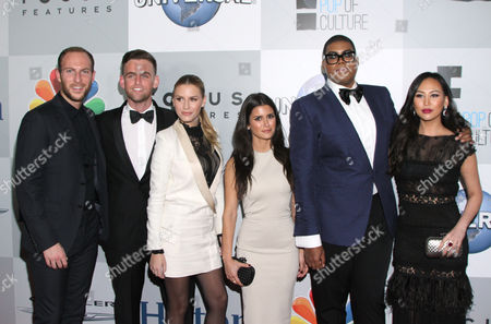 Stock Picture of Brendan Fitzpatrick, from left, Jonny Drubel, Morgan Stewart, Roxie Sowlaty, E.J. Johnson, and Dorothy Wang arrive at the NBCUniversal Golden Globes afterparty at the Beverly Hilton Hotel, in Beverly Hills, Calif