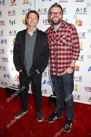 From left, Tanner Foust and Rutledge Wood attend the A+E Networks 2014 Upfront on in New York