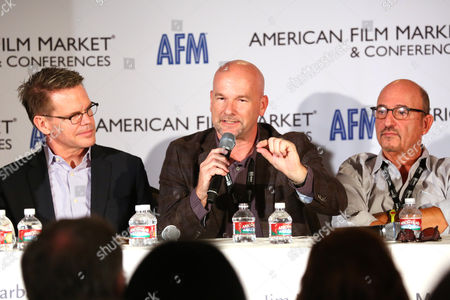 Bobby Downes, CEO & Founder, ChristianCinema.com, and from left, Jim Mhoon, VP, Content Development & Integration, Focus on the Family and Mark Borde, Co-President, Freestyle Releasing are seen at the 2014 American Film Market (AFM) at the Loews Santa Monica Hotel on in Santa Monica, Calif