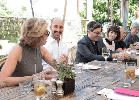 From left to right, actress Christine Baranski, artist Daniel Kukla, talent manager Jason Weinberg, and actress Cristin Milioti seen at the Alan Cumming and Spotify Lunch celebrating the 67th Emmy Awards at Petit Ermitage on in West Hollywood, Calif