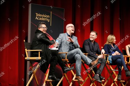 """From left to right, moderator Alec Mapa, executive producer, showrunner and co-creator Peter Paige, executive producer, showrunner, and co-creator Bradley Bredeweg, and executive producer and showrunner Joanna Johnson, participate in a panel at """"An Evening with the Fosters"""" presented by the Television Academy at the El Portal Theatre on in the NoHo Arts District in Los Angeles"""