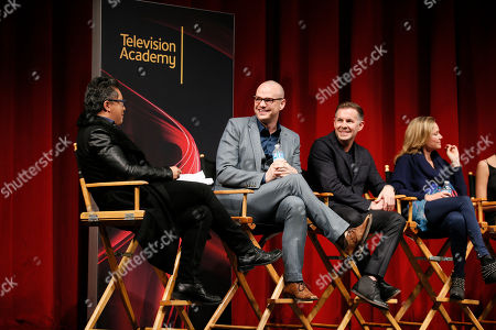 """From left to right, moderator Alec Mapa, executive producer, showrunner and co-creator Peter Paige, and executive producer, showrunner, and co-creator Bradley Bredeweg, participate in a panel at """"An Evening with the Fosters"""" presented by the Television Academy at the El Portal Theatre on in the NoHo Arts District in Los Angeles"""