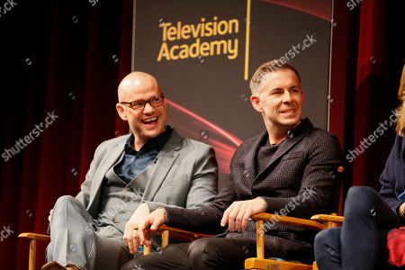"""Executive Producer, showrunner and co-creator Peter Paige, left, and executive producer, showrunner, and co-creator Bradley Bredeweg, right, participate in a panel during """"An Evening with the Fosters"""" presented by the Television Academy at the El Portal Theatre on in the NoHo Arts District in Los Angeles"""