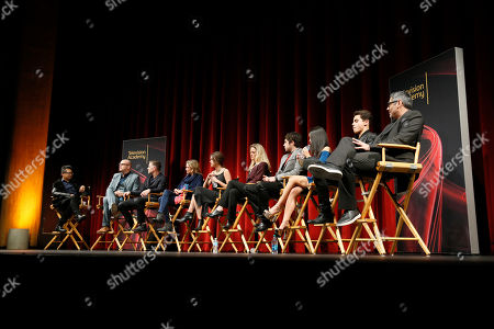 "From left to right, moderator Alec Mapa, executive Producer, showrunner and co-creator Peter Paige, executive Producer, showrunner, and co-Creator Bradley Bredeweg, executive producer and showrunner Joanna Johnson, actress Maia Mitchell, actress Teri Polo, actor David Lambert, actress Cierra Ramirez, actor Jake T. Austin and actor Danny Nucci participate in a panel at ""An Evening with the Fosters"" presented by the Television Academy at the El Portal Theatre on in the NoHo Arts District in Los Angeles"