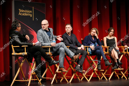 """From left to right, moderator Alec Mapa, executive Producer, showrunner and co-creator Peter Paige, executive Producer, showrunner, and co-Creator Bradley Bredeweg, executive producer and showrunner Joanna Johnson, and actress Maia Mitchell participate in a panel at """"An Evening with the Fosters"""" presented by the Television Academy at the El Portal Theatre on in the NoHo Arts District in Los Angeles"""