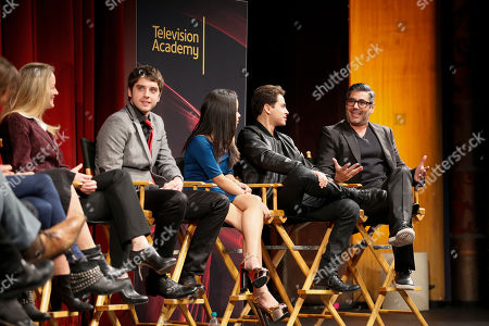 "From left to right, actress Teri Polo, actor David Lambert, actress Cierra Ramirez, actor Jake T. Austin and actor Danny Nucci participate in a panel at ""An Evening with the Fosters"" presented by the Television Academy at the El Portal Theatre on in the NoHo Arts District in Los Angeles"