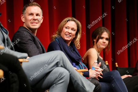 """From left to right, executive producer, showrunner, and co-creator Bradley Bredeweg, executive producer and showrunner Joanna Johnson, and actress Maia Mitchell participate in a panel at """"An Evening with the Fosters"""" presented by the Television Academy at the El Portal Theatre on in the NoHo Arts District in Los Angeles"""