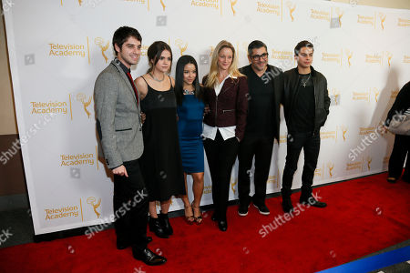 "From left to right, David Lambert, Maia Mitchell, Cierra Ramirez, Teri Polo, Danny Nucci and Jake T. Austin pose at ""An Evening with the Fosters"" presented by the Television Academy at the El Portal Theatre on in the NoHo Arts District in Los Angeles"