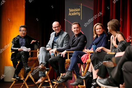"""From left to right, moderator Alec Mapa, executive producer, showrunner and co-creator Peter Paige, executive producer, showrunner, and co-Creator Bradley Bredeweg, executive producer and showrunner Joanna Johnson, and actress Maia Mitchell, participate in a panel at """"An Evening with the Fosters"""" presented by the Television Academy at the El Portal Theatre on in the NoHo Arts District in Los Angeles"""