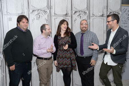 Stock Photo of Film critics from left, Marshall Heyman, Christopher Rosen, Katey Rich, Clayton Davis and moderator Ricky Camilleri participate in AOL's BUILD Speaker Series to discuss this year's awards season at AOL Studios, in New York