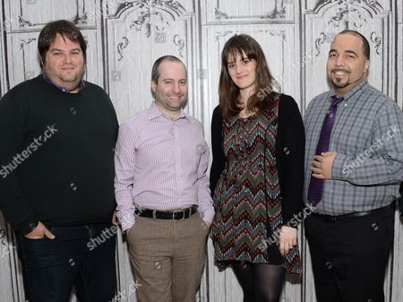 Stock Image of Film critics from left, Marshall Heyman, Christopher Rosen, Katey Rich and Clayton Davis participate in AOL's BUILD Speaker Series to discuss this year's awards season at AOL Studios, in New York