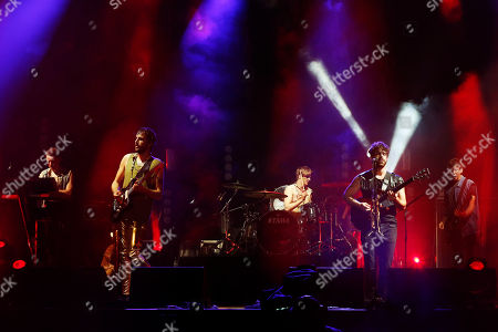 British band Foals from left Edwin Congreave, Jimmy Smith, Jack Bevan, Yannis Philippakis, Walter Gervers perform at Bestival at Robin Hill,, on the Isle of Wight, England. Thousands of music fans are expected at the weekend's festival to see acts such as Beck, Outkast, Foals and Chic featuring Nile Rodgers