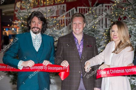 Laurence Llewelyn-Bowen, Olly Smith and Katie Piper pose for photographers during a photo call in London