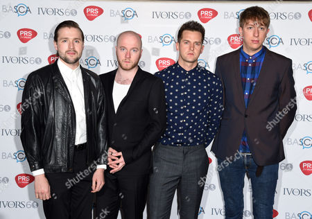 Wild Beasts (L-R Hayden Thorpe, Tom Fleming, Ben Little and Chris Talbot) attend the 60th Ivor Novello Awards at the Grosvenor House in London on