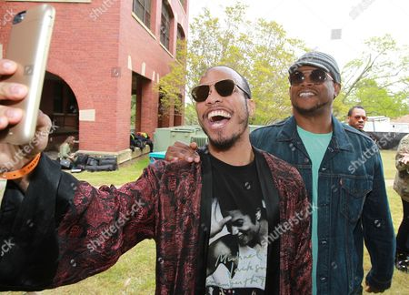 Anderson Paak and Sway Calloway are seen backstage at Broccoli City Festival 2016, in Washington