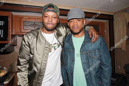 BJ the Chicago Kid and Sway Calloway are seen backstage at Broccoli City Festival 2016, in Washington