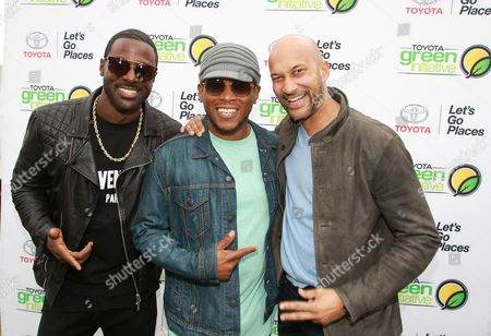 Lance Gross, from left, Sway Calloway and Keegan-Michael Key are seen at the Toyota Green Initiative Experience during Broccoli City Festival 2016, in Washington