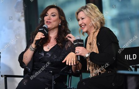 """Singer - songwriters Amy Sky, left, and Olivia Newton-John participate in the BUILD Speaker Series to discuss their new album """"Liv On"""" at AOL Studios, in New York"""