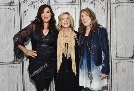 """Singer - songwriters Amy Sky, left, Olivia Newton-John and Beth Nielsen Chapman participate in the BUILD Speaker Series to discuss their new album """"Liv On"""" at AOL Studios, in New York"""