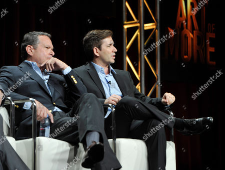 Gardner Stern and Chuck Rose, series' writers and executive producers, speak onstage during Crackle The Art of More at the 2015 Summer TCA Tour at The Beverly Hilton Hotel on in Beverly Hills, California