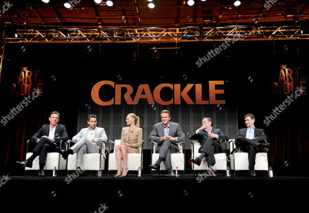 Dennis Quaid, Christian Cooke, Kate Bosworth, Cary Elwes and series' writers and executive producers, Gardner Stern and Chuck Rose speak onstage during Crackle's 'The Art of More'? at the 2015 Summer TCA Tour at The Beverly Hilton Hotel on in Beverly Hills, California