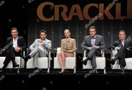 Dennis Quaid, Christian Cooke, Kate Bosworth, Cary Elwes and series' writer and executive producer, Gardner Stern speak onstage during Crackle's 'The Art of More'? at the 2015 Summer TCA Tour at The Beverly Hilton Hotel on in Beverly Hills, California