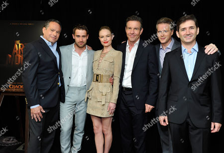 Gardner Stern, series' writer and executive producer, Christian Cooke, Kate Bosworth, Dennis Quaid, Cary Elwes and Chuck Rose, series' writer and executive producer, at Crackle's 'The Art of More'? at the 2015 Summer TCA Tour at The Beverly Hilton Hotel on in Beverly Hills, California
