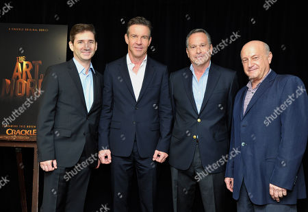 Chuck Rose, series' writer and executive producer, Dennis Quaid, Gardner Stern, series' writer and executive producer and Laurence Mark, executive producer, at Crackleâ?™s â?oeThe Art of Moreâ?? at the 2015 Summer TCA Tour at The Beverly Hilton Hotel on in Beverly Hills, California
