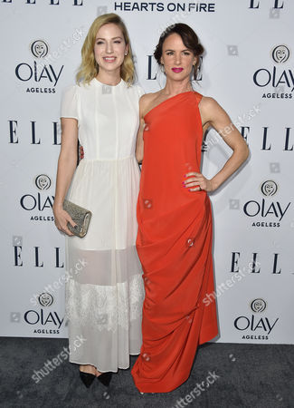 Beth Riesgraf, left, and Juliette Lewis arrive at ELLE's 6th annual Women in Television celebration at the Sunset Tower Hotel, in Los Angeles