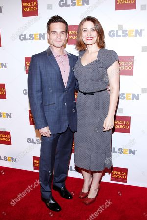 Greg Rikaart and Clementine Ford attend the GLSEN Respect awards at the Beverly Hills Hotel, in Beverly Hills, Calif
