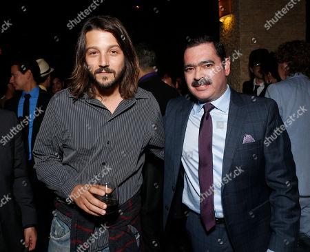 """Diego Luna and Mario Quintero Lara of Los Tucanes de Tijuana attend a special screening for """"Hecho En Mexico"""" at Landmark Theaters on in Los Angeles, California"""