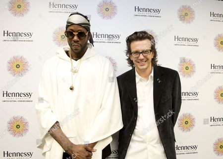 IMAGE DISTRIBUTED FOR HENNESSY - Rapper 2 Chainz, left, and artist Ryan McGinness are seen at the Hennessy V.S. launches limited edition bottle with Ryan McGinness event at Highline Stages, on in New York