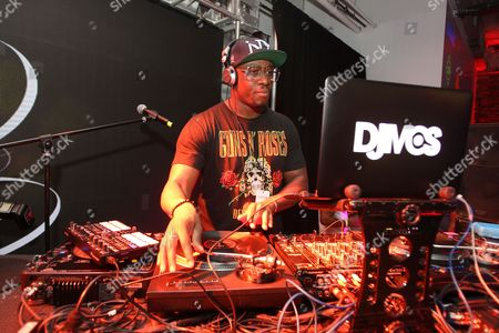 DJ MOS is seen at the Hennessy V.S. launches limited edition bottle with Ryan McGinness event at Highline Stages, on in New York