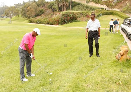 Kenny Lofton and Elgin Baylor attend the Hilton HHonors Charitable Golf Series Finale Event, on at the Riviera Country Club in Pacific Palisades, Calif