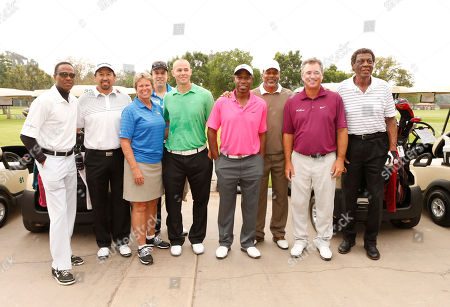 Willie Gault, Jesse Orosco, Ann Meyers Drysdale, Kevin Nealon, Kenny Lofton, Norm Dixon, Brian Mogg and Elgin Baylor attend the Hilton HHonors Charitable Golf Series Finale Event, on at the Riviera Country Club in Pacific Palisades, Calif