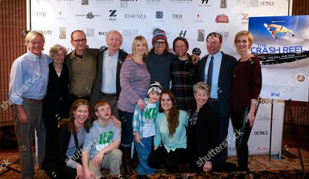 """Back, l-r) Michael McDonnell, Peggy Walsh, Sam Harper, Simon Pearce, Dr. Holly Ledyard, Kevin Pearce, Adam Pearce, Andrew Pearce,Whitney Pratt (front 1-r) Anna McDonnell, David Pearce, Max Ledyard, Kyla Donnelly, Pia Pearce from the film """"The Crash Reel"""" are seen at Resorts West House of Luxury, on Monday, Jan 21. 2013 in Park City, Utah"""