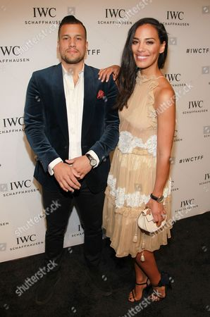 """Musicians Abner Ramiez and Amanda Sudano attend IWC's """"For the Love of Cinema"""" event during the 2016 Tribeca Film Festival at Spring Studios, in New York"""
