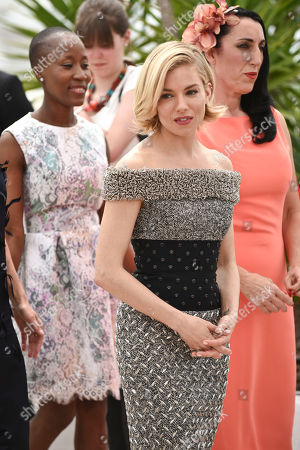 Rokia Traore, Sienna Miller and Rossy de Palma pose for photographers during a photo call for the Jury, at the 68th international film festival, Cannes, southern France